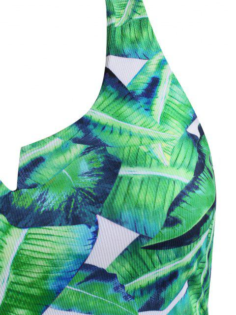 online ZAFUL Plus Size V-wired Palm Leaf Ribbed Tankini Swimwear - DEEP GREEN XXL Mobile