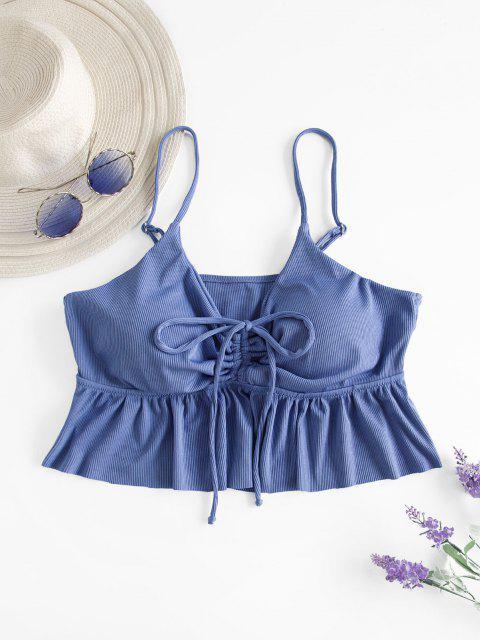 fancy ZAFUL Plus Size Ribbed Cinched Peplum Flounce Swim Top - BLUE XL Mobile