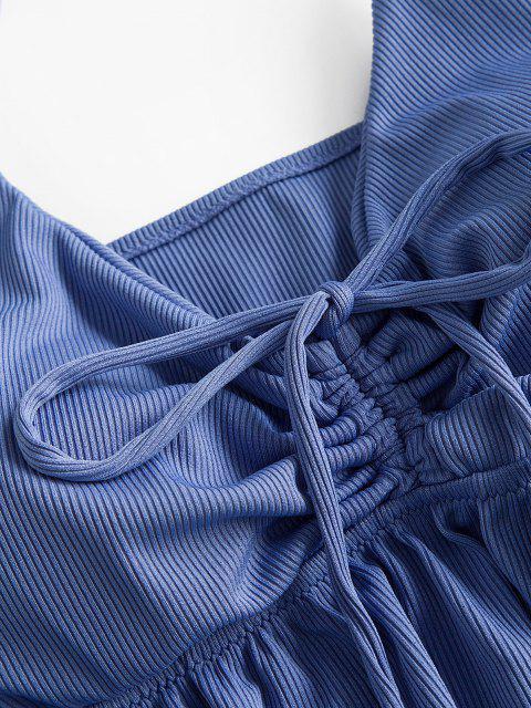 ZAFUL Haut de Bain Péplum Côtelé à Volants de Grande Taille avec Lacets - Bleu XXXXL Mobile