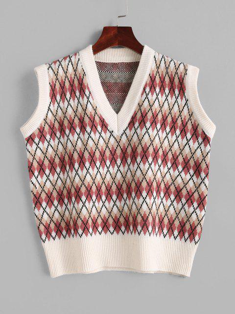 Camisola suéter gola inclinada com marcas gráficas - Multi Um Tamanho Mobile