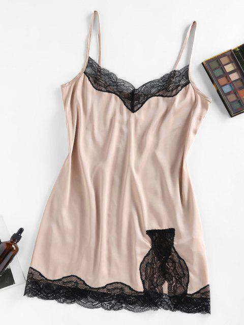 outfit ZAFUL Lace Insert Satin Slit Night Dress - APRICOT S Mobile