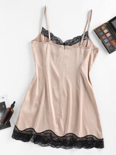 affordable ZAFUL Lace Insert Satin Slit Night Dress - APRICOT M Mobile