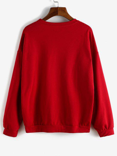 Sweat-shirt Lettre Graphique à Goutte Epaule - Rouge S Mobile