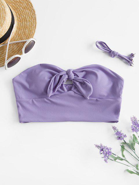 unique ZAFUL Tie Front Ribbed Cut Out Swim Top - LIGHT PURPLE M Mobile