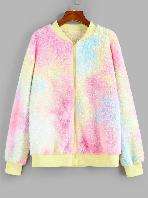 ZAFUL Chaqueta de Hombro Caído de Peluche de Tie Dye - Multicolor XL Mobile