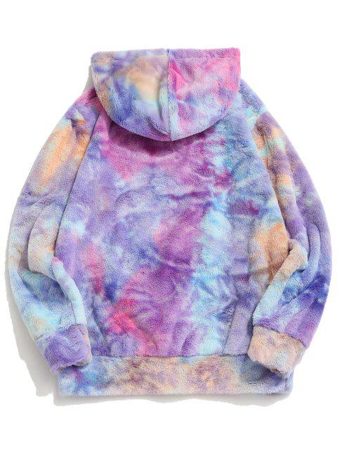 shop Tie Dye Faux Fur Ring Half Zipper Hoodie - MEDIUM PURPLE 2XL Mobile