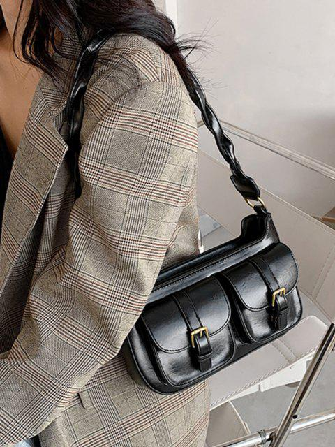 online Twist Strap Shoulder Messenger Bag - BLACK  Mobile