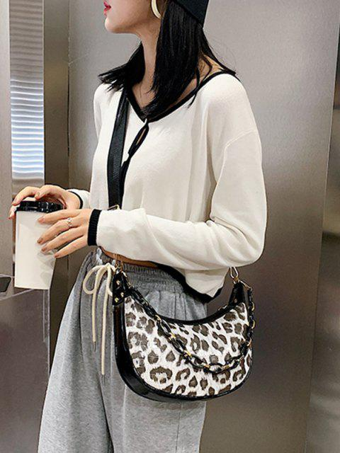 fancy Leopard Printed Chain Crossbody Bag - BEIGE  Mobile
