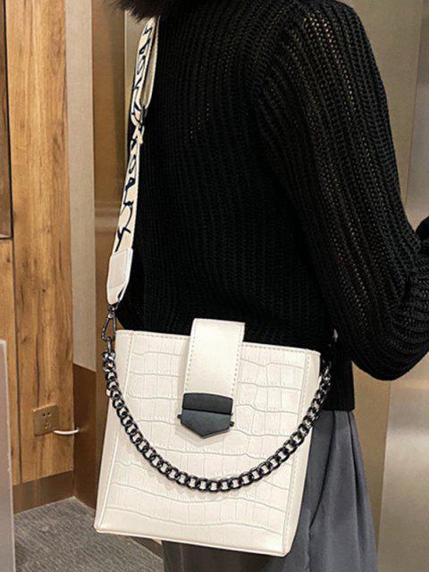 shop Retro Square Chain Embossing Crossbody Bag - WHITE  Mobile