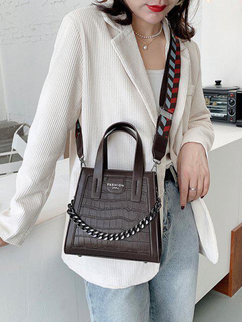 trendy Chain Embossing Solid Crossbody Bag - DEEP COFFEE  Mobile