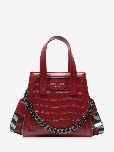 fashion Chain Embossing Solid Crossbody Bag - RED  Mobile