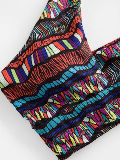shop ZAFUL Bohemian Halter Cutout Bikini Swimwear - RED S Mobile