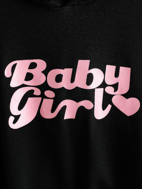 unique Heart Baby Girl Graphic Cropped Hoodie - BLACK M Mobile
