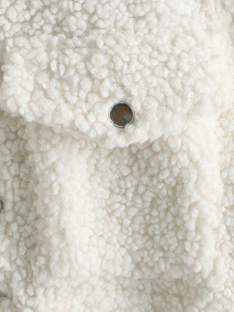 Zugeschnitte Klappe Taschen Teddy Jacke - Warmweiß M Mobile
