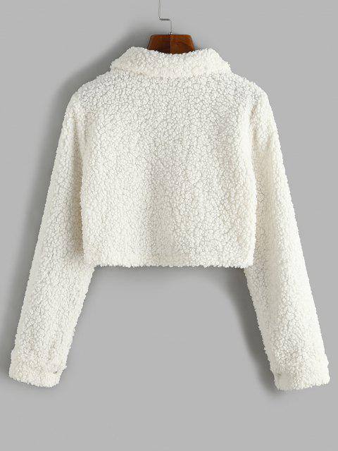 Cropped Flap Pockets Teddy Jacket - الأبيض الدافئ M Mobile