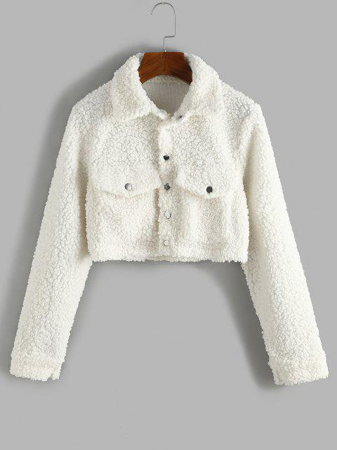fashion Cropped Flap Pockets Teddy Jacket - WARM WHITE M Mobile