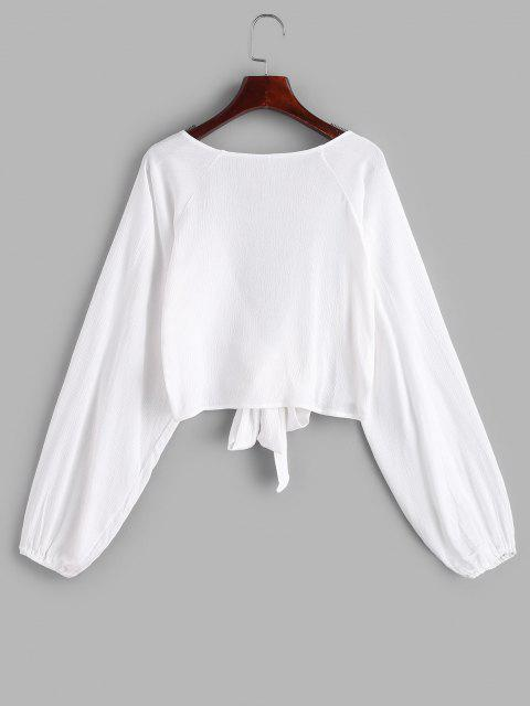 womens ZAFUL Raglan Sleeve Tie Front Crop Cover Up Top - WHITE ONE SIZE Mobile