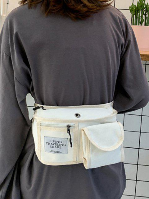 buy Canvas Pockets Crossbody Bag - MILK WHITE  Mobile
