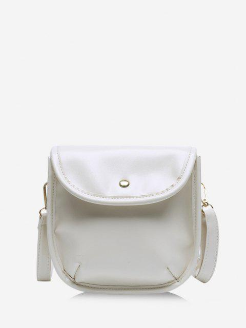 Solid Cover Crossbody Saddle Bag - أبيض  Mobile