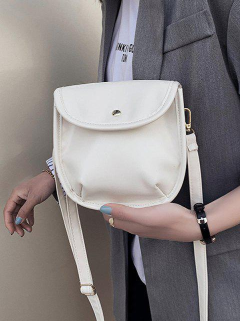 women Solid Cover Crossbody Saddle Bag - WHITE  Mobile