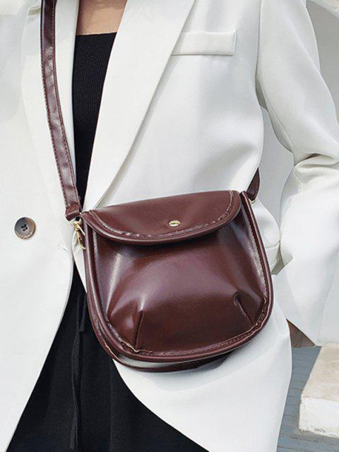 Solid Cover Crossbody Saddle Bag - قهوة  Mobile
