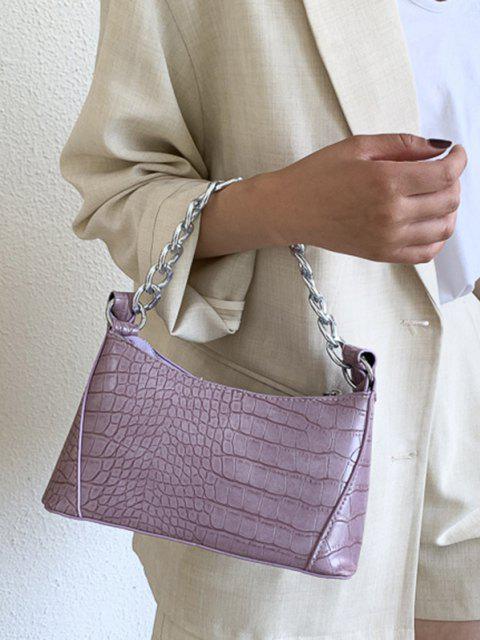 women's Solid Chain Textured Shoulder Bag - MAUVE  Mobile