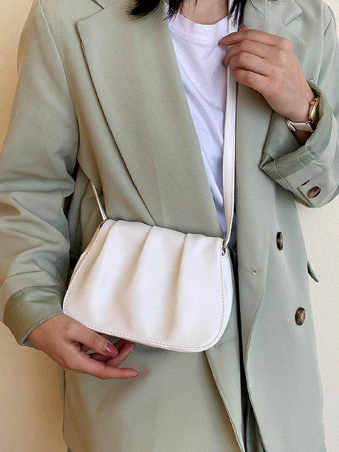 lady Solid Pleated Shoulder Bag - MILK WHITE  Mobile