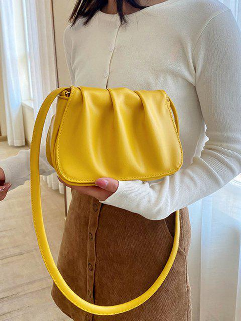 online Solid Pleated Shoulder Bag - SUN YELLOW  Mobile