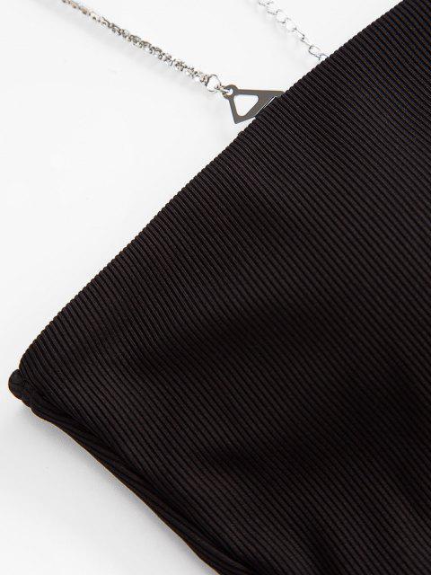 ZAFUL Haut de Maillot de Bain Côtelé à Bretelle à Col Oblique - Noir M Mobile