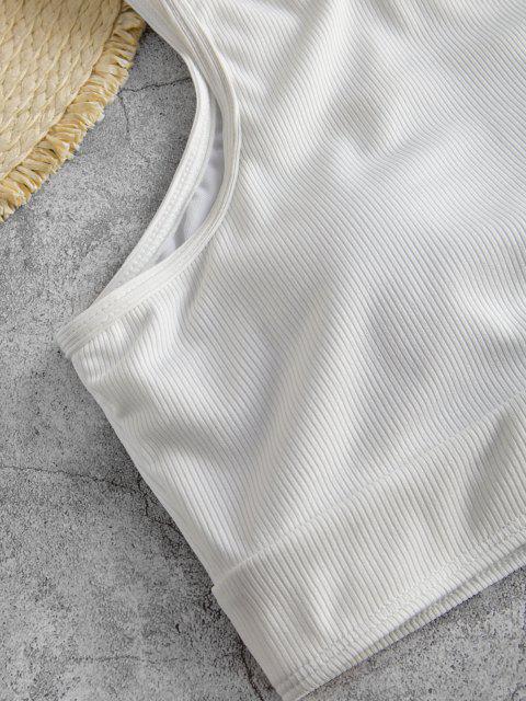 ZAFUL Haut de Bikini Court Côtelé Au Dos Nageur - Blanc S Mobile