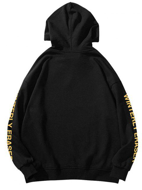 fancy Drip Face Winterly Eraser Pattern Hoodie - BLACK 2XL Mobile