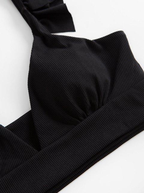 fancy ZAFUL Ribbed Leopard Ruffle Tankini Swimwear - BLACK 2XL Mobile