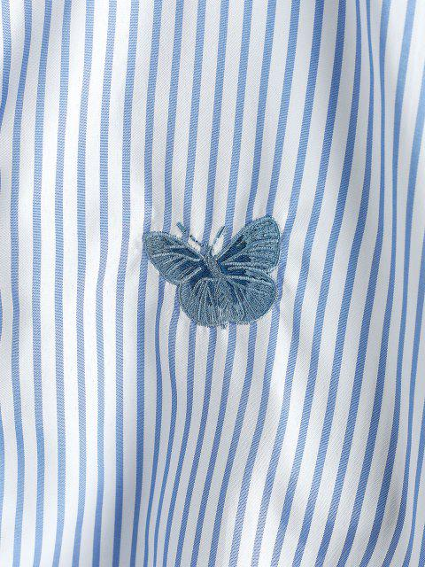 hot Oversize Stripes Butterfly Embroidered Shirt - PASTEL BLUE XL Mobile