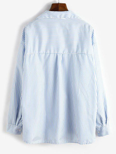 outfit Oversize Stripes Butterfly Embroidered Shirt - PASTEL BLUE M Mobile