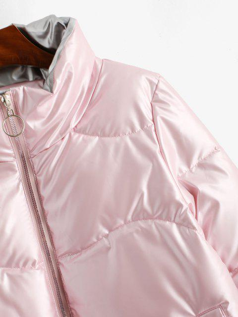 buy Pockets Zip Up Wet Look Puffer Coat - LIGHT PINK XL Mobile