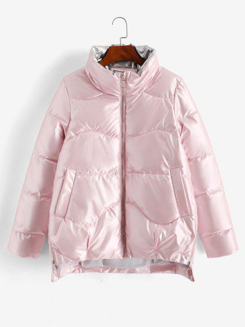 Pockets Zip Up Wet Look Puffer Coat - وردي فاتح XL Mobile