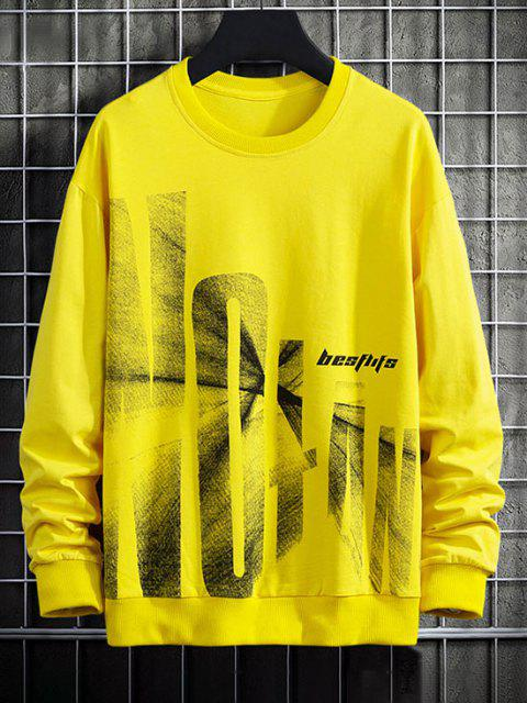 women's Letter Graphic Print Drop Shoulder Rib-knit Trim Sweatshirt - YELLOW XS Mobile