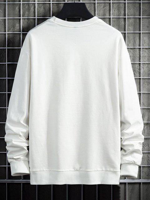online Letter Graphic Print Drop Shoulder Rib-knit Trim Sweatshirt - WHITE XS Mobile