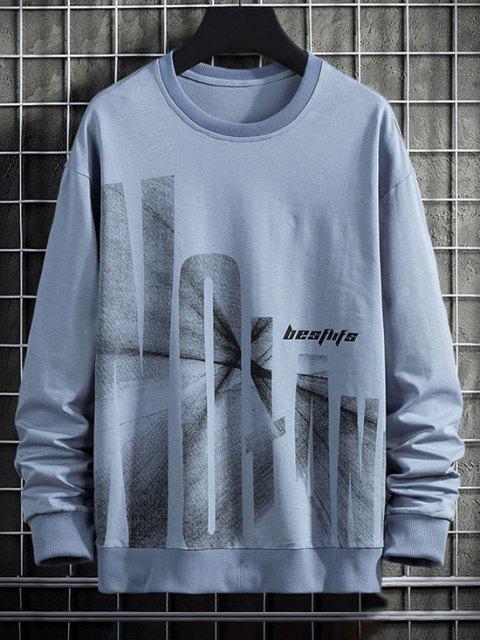 Carta de Gráfico Rib-knit Moletom - Azul L Mobile