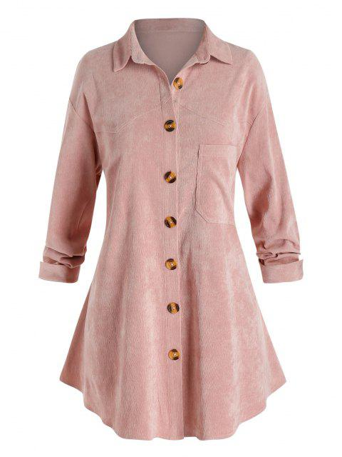 Plus Size Corduroy Chest Pocket Drop Shoulder Shirt Jacket - Schwein Rosa L Mobile