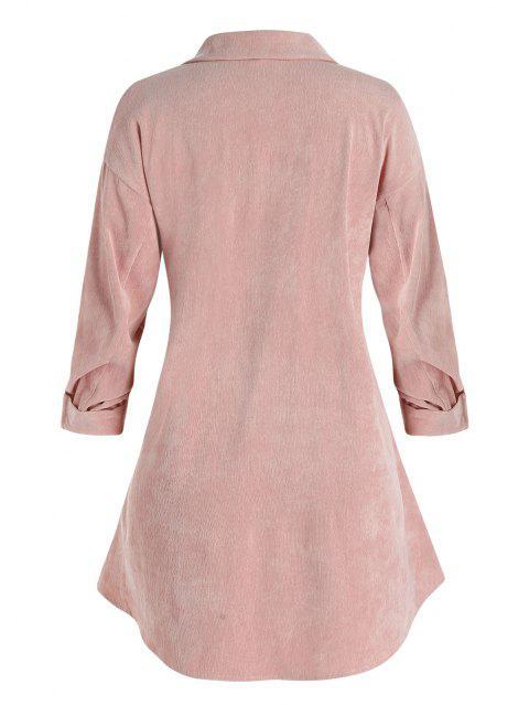 Veste Chemise à Goutte Epaule avec Poche Poitrine de Grande Taille en Velours Côtelé - Rose Cochon 3X Mobile
