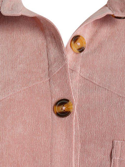 Veste Chemise à Goutte Epaule avec Poche Poitrine de Grande Taille en Velours Côtelé - Rose Cochon 4X Mobile