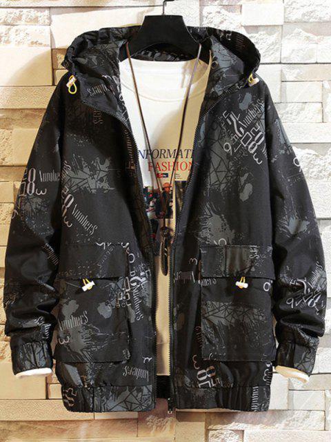 Veste à Capuche Graphique Imprimé avec Double Poches - Noir 4XL Mobile