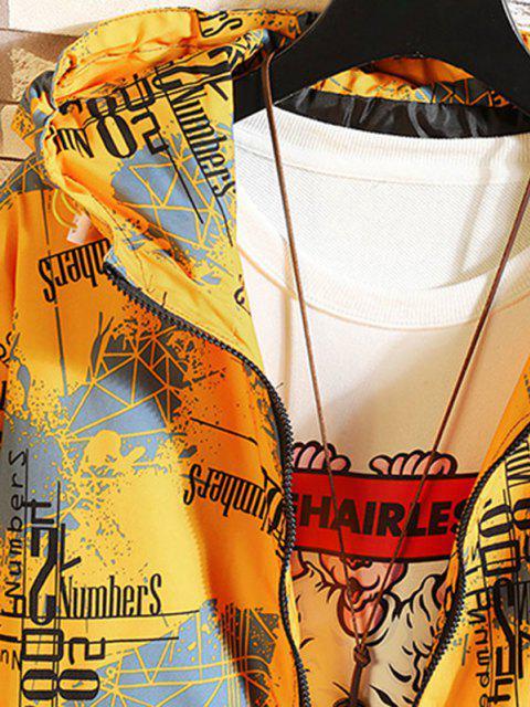 Veste à Capuche Graphique Imprimé avec Double Poches - Jaune 2XL Mobile