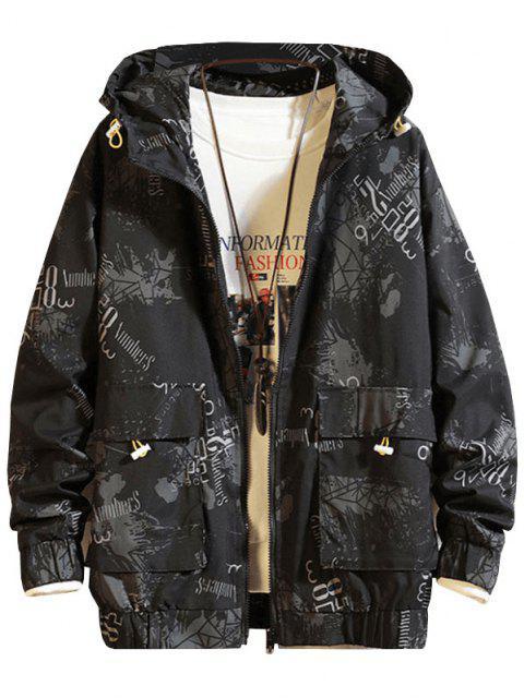 Doppelte Tasche Hoodie Jacke mit Kapuze und Grafikdruck - Schwarz 3XL Mobile