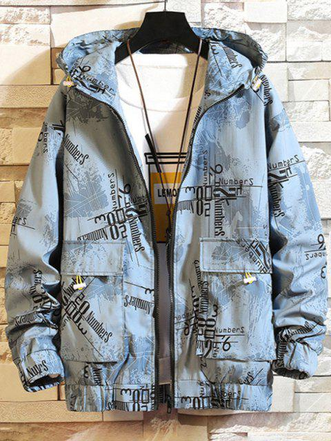 latest Hooded Graphic Print Double Pockets Jacket - BLUE L Mobile