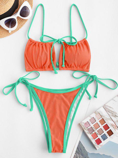 unique ZAFUL Ribbed Contrast Binding Cutout String Bikini Swimwear - BRIGHT ORANGE S Mobile