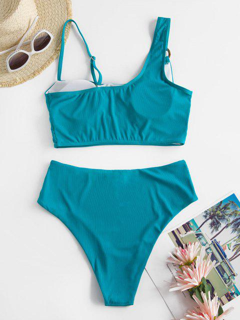 new ZAFUL High Waisted Ribbed O-ring Tankini Swimwear - LIGHT GREEN L Mobile