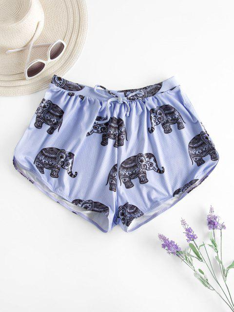 outfits ZAFUL Ribbed Elephant Print Bowknot Swim Bottom - PURPLE S Mobile