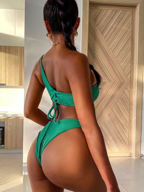 chic ZAFUL Ribbed Lace Up One Shoulder Bikini Swimwear - LIGHT GREEN M Mobile